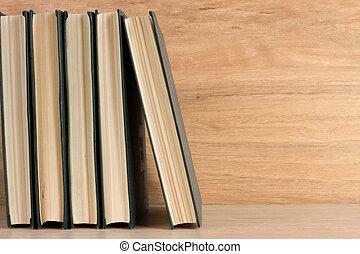 madeira, livros, pilha, fundo