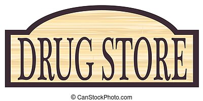 madeira, loja droga, sinal