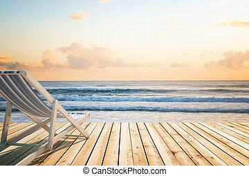 madeira, longue chaise, litoral, chão