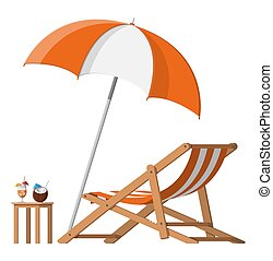 madeira, lounge chaise, guarda-chuva, coquetel