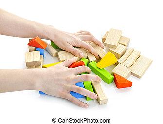 madeira, mãos, bloco, brinquedos