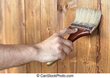 madeira, macho, quadro, superfície, mão