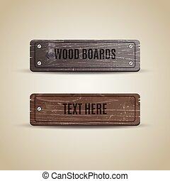 madeira, madeira, arte, vetorial, signage