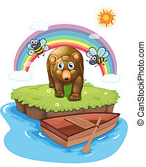 madeira, marrom, bote, urso
