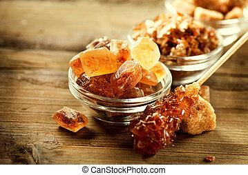 madeira, marrom, sugar., fundo, açúcar