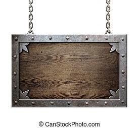 madeira, medieval, sinal, com, metal, quadro, isolado