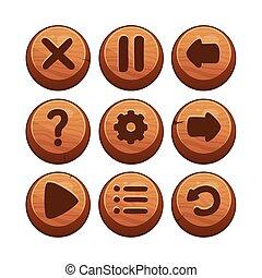madeira, menu, botões