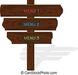 madeira, menu, vetorial