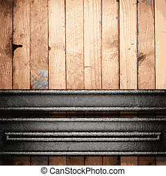 madeira, metal, fundo