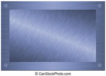 madeira, metal, isolado, branca, escovado, placa