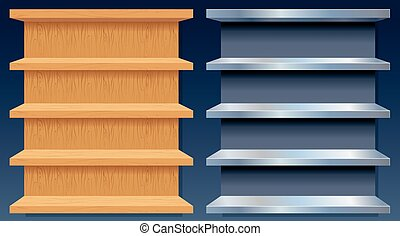 madeira, metal, vazio, prateleiras