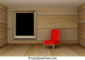 madeira, minimalista, sala, vivendo