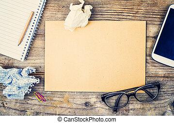 madeira, mistura, tabela., escritório, desktop