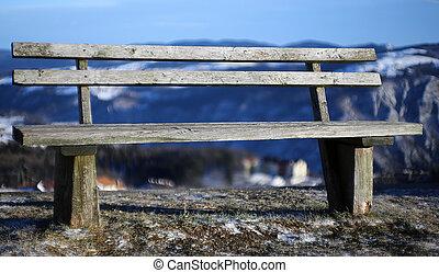 madeira, montanha, isolado, banco