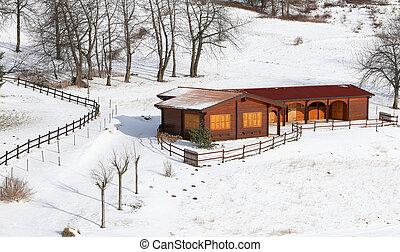 madeira, montanhas, chalé, nevado