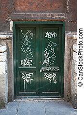 madeira, muitos, antigas, portas, graffiti, portas, verde,...