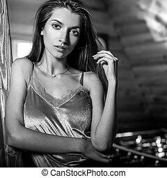 madeira, mulher, beleza, casa, interior., jovem