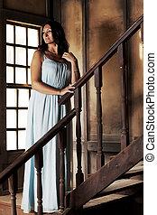 madeira, mulher, escadaria