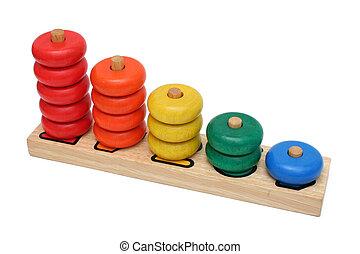 madeira, número, brinquedo