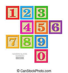 madeira, números, bloco