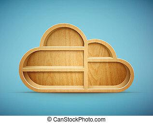 madeira, nuvem, prateleira
