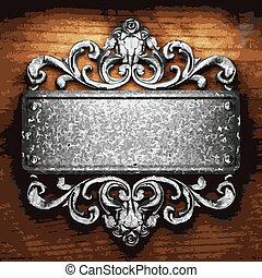 madeira, ornamento, ferro