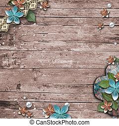 madeira, pérolas, antigas, fundo, flores