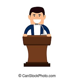 madeira, pódio, fala, avatar, homem