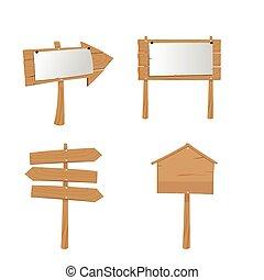 madeira, painél publicitário, prancha, sinal, placas