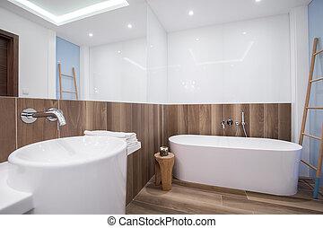 madeira, painel, em, luxo, banheiro