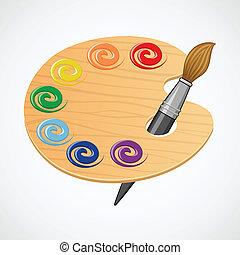 madeira, palette., arte
