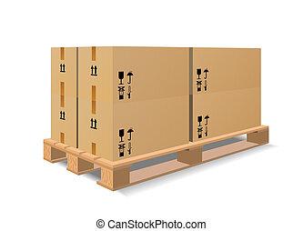 madeira, pallet, caixas
