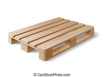 madeira, pallet., isolado, white.