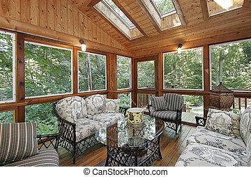 madeira, paneled, alpendre, com, clarabóias