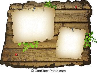 madeira, papel, antigas, fundo