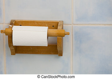 madeira, papel higiénico, recipiente, em, banheiro