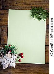 madeira, papel natal, decoração, tabela, em branco
