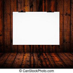 madeira, parede branco, junta papel, penduradas