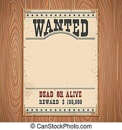 madeira, parede, vindima, poster.western, papel, desenho,...