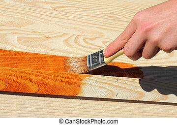 madeira, pedaço, quadro, mobília