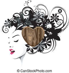 madeira, penteado, acessório