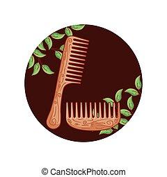 madeira, pentes, quadro, cabelo fixo