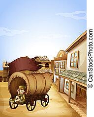madeira, pequeno, carruagem, menina, sentando