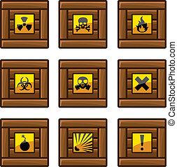 madeira, perigo,  Crates, sinais
