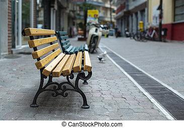madeira, pessoas., banco, rua., não