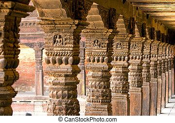 madeira, pilares, antigas, city.
