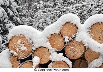 madeira, pilha, inverno