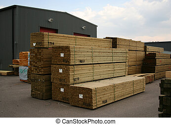madeira, pilhas, sawn