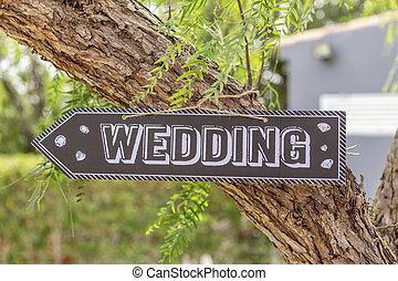 madeira, placa, com, a, inscrição, palavras, wedding.