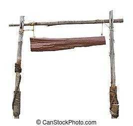 madeira, placa sinal, penduradas, com, corda